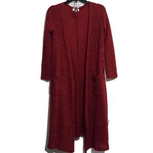 LuLaRoe Cranberry Red Duster Sz XS Open Front